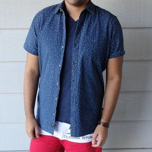 Globe Blue Patterned Short Sleeve Shirt